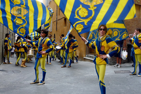 Flag bearers at the Palio in Siena