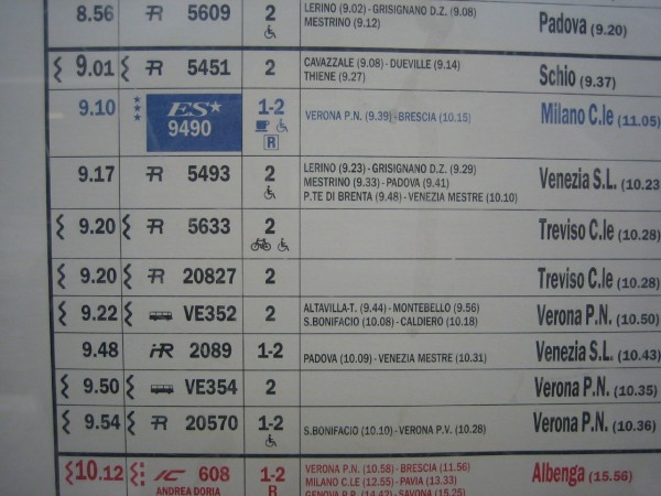 Close-up of a printed Italian train timetable