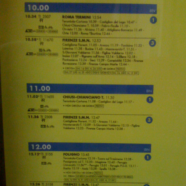Another example of a printed train schedule in Italy