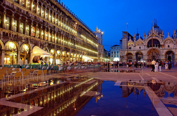 St. Mark's Square with a little flooding || creative commons photo by Robert Montgomery