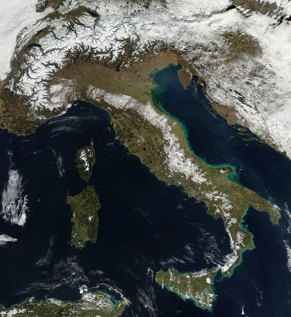 Satellite image of Italy || creative commons photo by NASA Goddard Space Flight Center