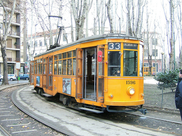 Historic Milan tram || creative commons photo by Peter Van den Bossche