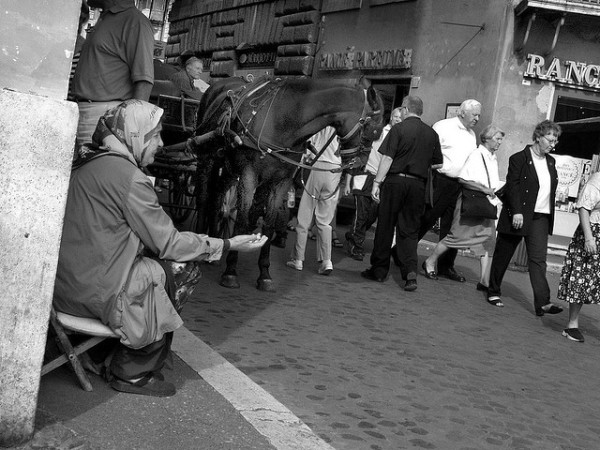 Beggar in Rome || creative commons photo by Alex Pearson