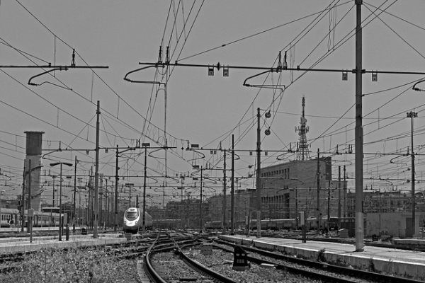 Train tracks outside Rome's Termini Station || creative commons photo by Lukemn