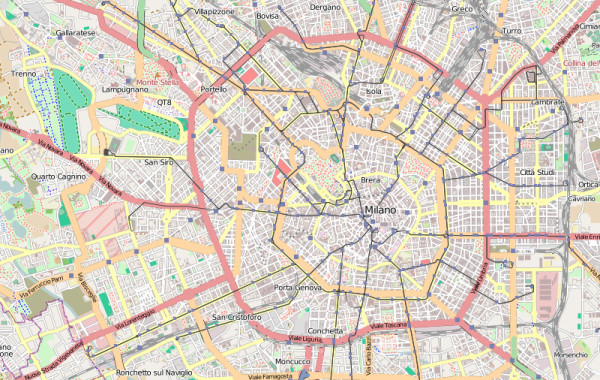 Central Milan map || creative commons photo by Conte di Cavour