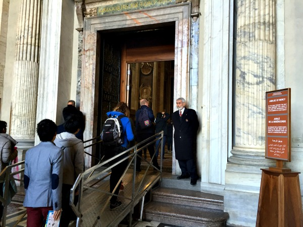 Vatican guards on either side of the Holy Door || photo by Jessica Spiegel : all rights reserved : may not be used without permission