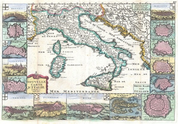Italy map by Daniel de La Feuille (1640-1709)