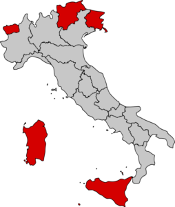 Map Showing Regions Of Italy.Italy Roundtable 5 Autonomous Regions Of Italy Italy Explained
