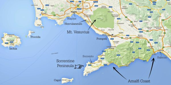 annotated Amalfi Coast map