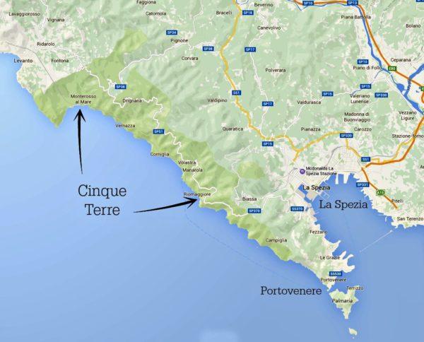 annotated Cinque Terre map