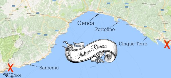 annotated Italian Riviera map
