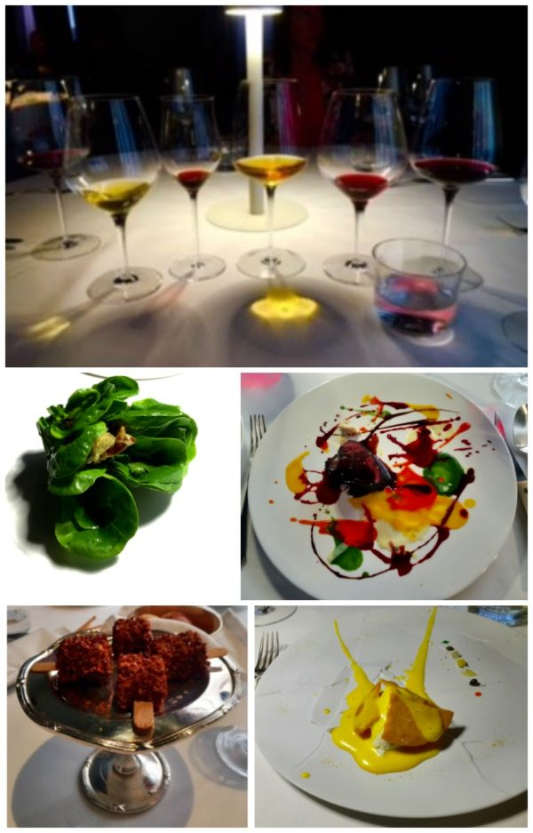Top: Wines at Osteria Francescana; Middle: Caesar salad & beef dish; Bottom: Foie gras 'lollipops' & lemon tart || photos courtesy of Kurt Strawhecker