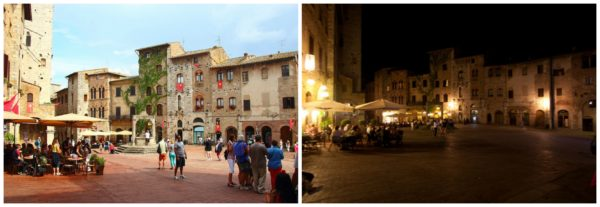 San Gimignano || creative commons photos by Justin Ennis (left) & Danilo Paissan (right)