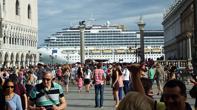 Cruise ship seen from St. Mark's Square || creative commons photo by fdecomite