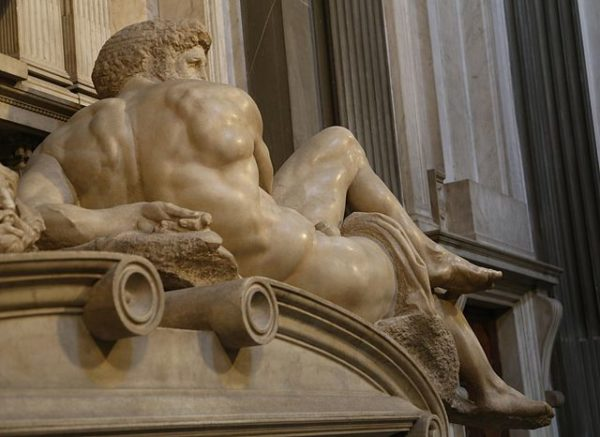 Detail of a Michelangelo sculpture on a Medici Chapel tomb || creative commons photo by Rufus46