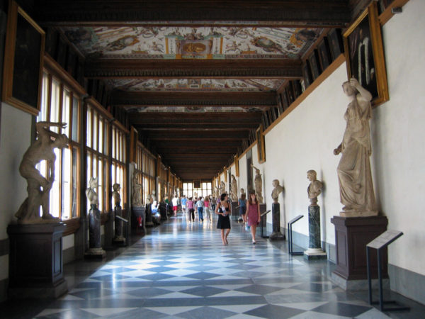 Uffizi Gallery hallway || creative commons photo by Sailko
