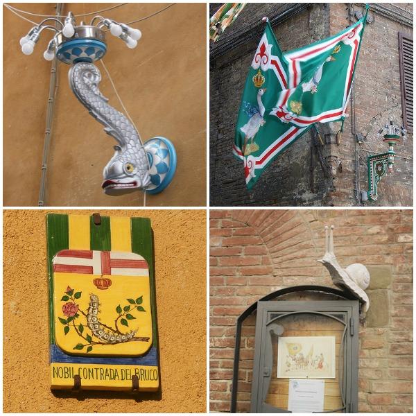 Contrada symbols in neighborhoods. Clockwise from top left: Onda, Oca, Chiocciola, Bruco